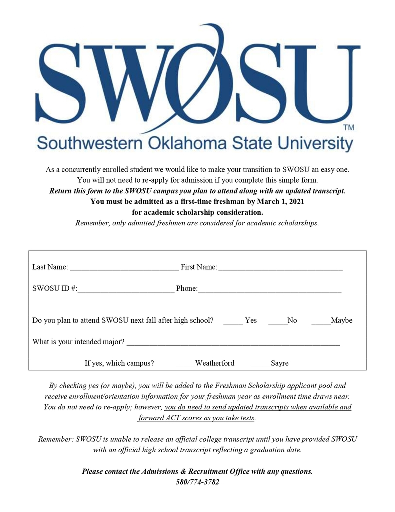 SWOSU Re-admit