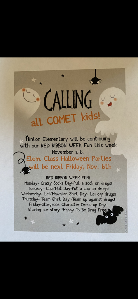Hinton Elementary Nov. 2-6 Red Ribbon Halloween Plans