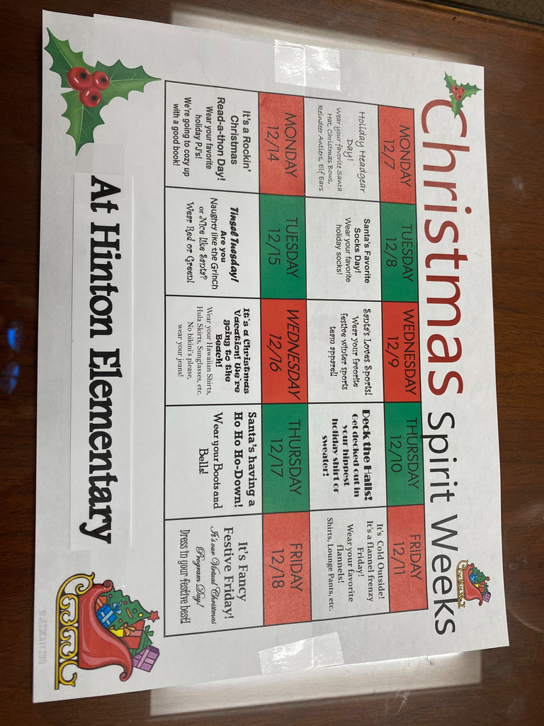 Hinton Elementary Christmas Spirit Days.