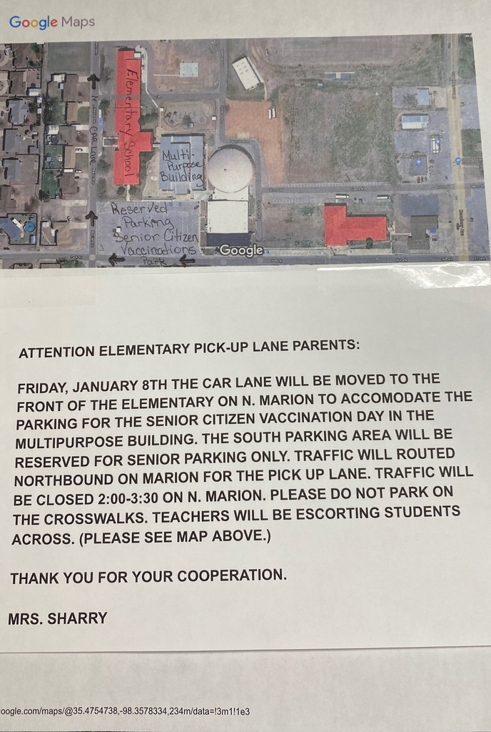 Hinton Elementary Friday Pick-up Lane changes