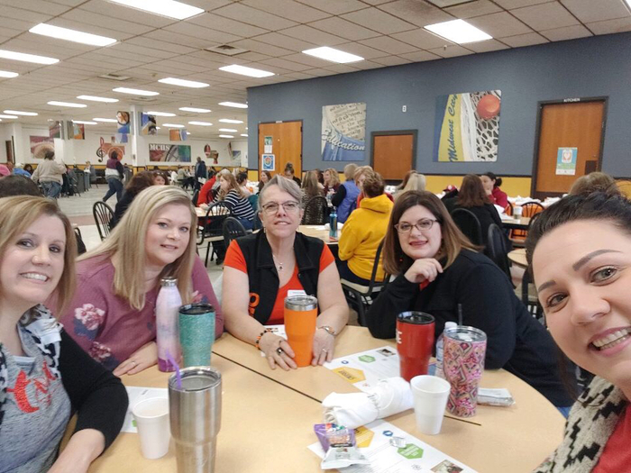 Mrs. Bell, Mrs. Resendez, Mrs. Findley, Mrs. S. House, and Mrs. L. House collaborating on this morning's events before heading back to class! #LifelongLearners