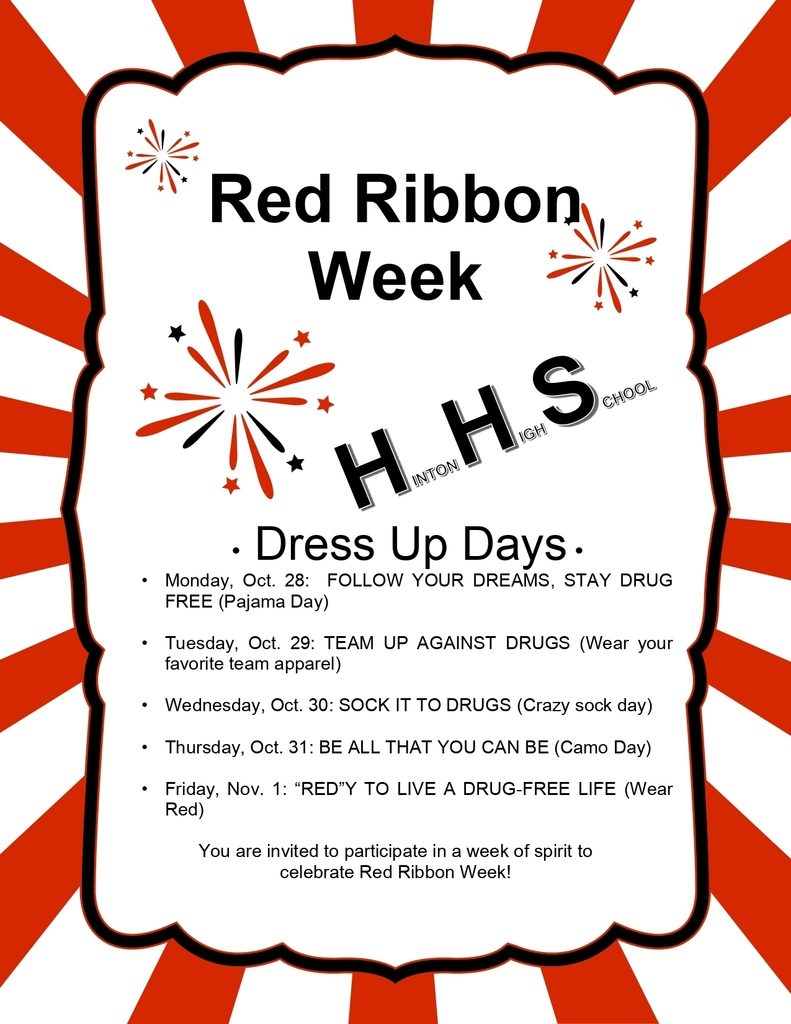 Hinton High School Red Ribbon Week Dress Up Days