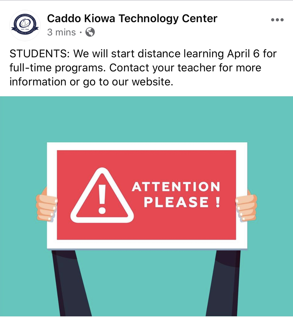 CKTC classes will resume With distance learning on April 6