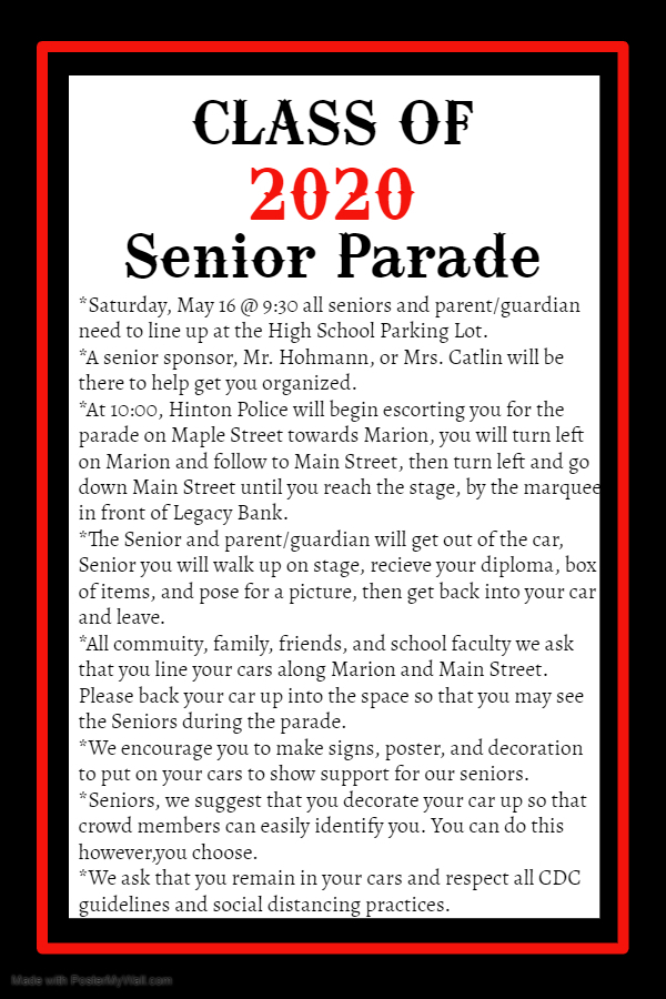 Senior Parade Information