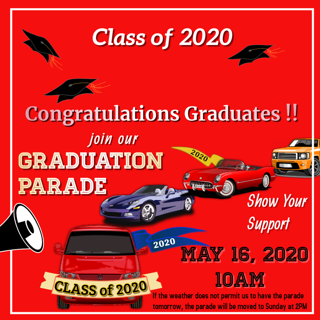 Senior Parade May 16 at 10AM