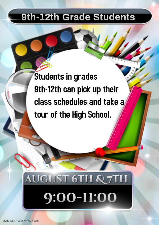 9th-12th Grade schedule pick up