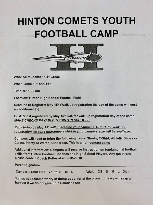 Hinton Comets Youth Football Camp